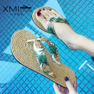 网红凉拖人字拖鞋女夏外穿平底可爱度假沙滩鞋女拖鞋海边防滑夹脚