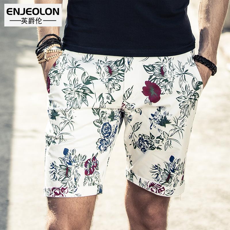 英爵伦 男士修身休闲短裤 五分裤植物花短裤 沙滩花印花图案