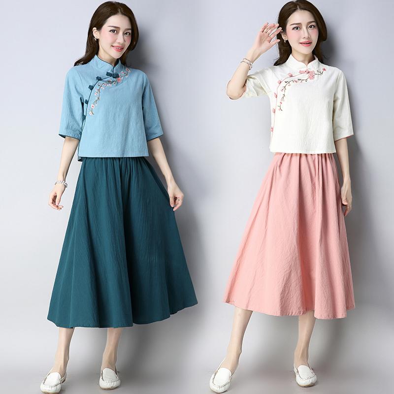 汉服女春装学生女装唐装女复古风民国风日常棉麻汉元素中国风套装