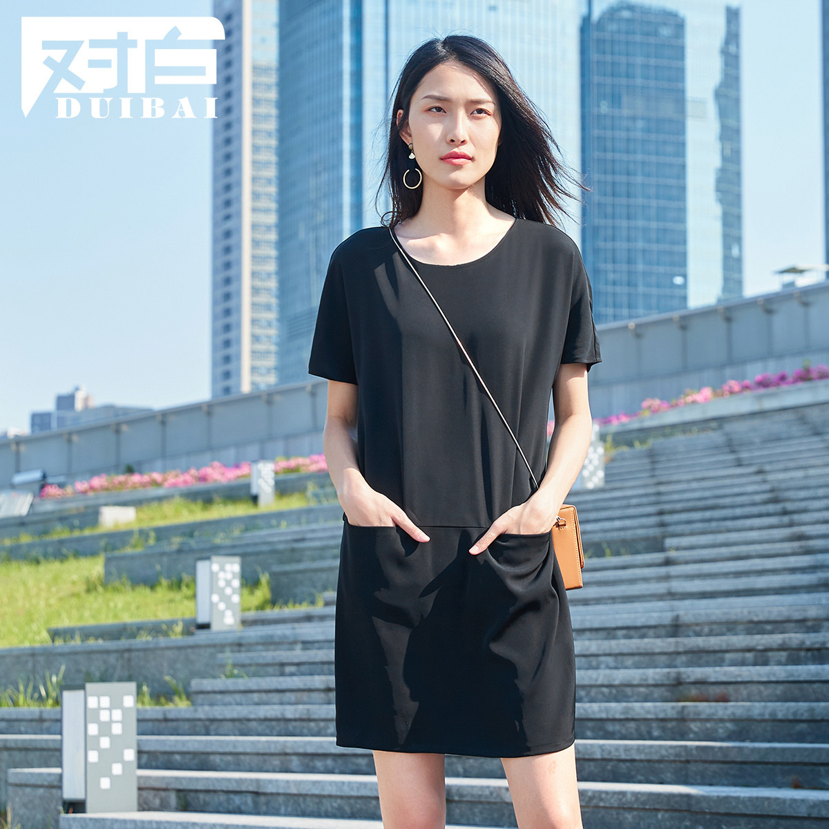 对白织带拼接短袖连衣裙女2019夏装新款纯色口袋简约休闲直筒裙子