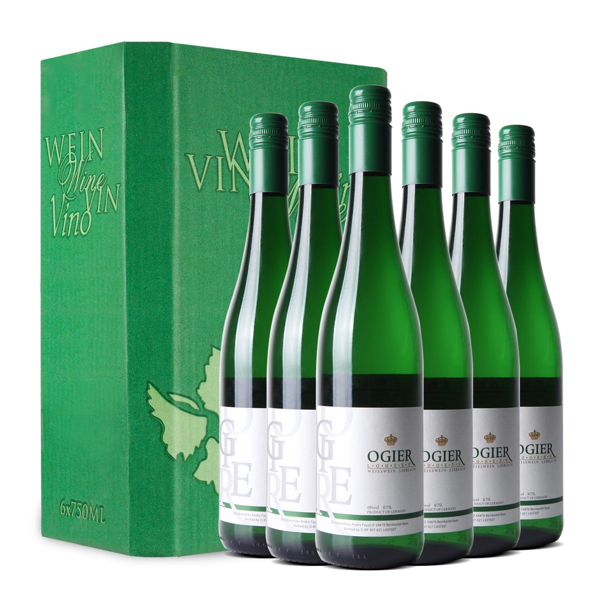 德国原瓶进口欧吉露森雷司令女士送礼甜白葡萄酒整箱750ml*6支装