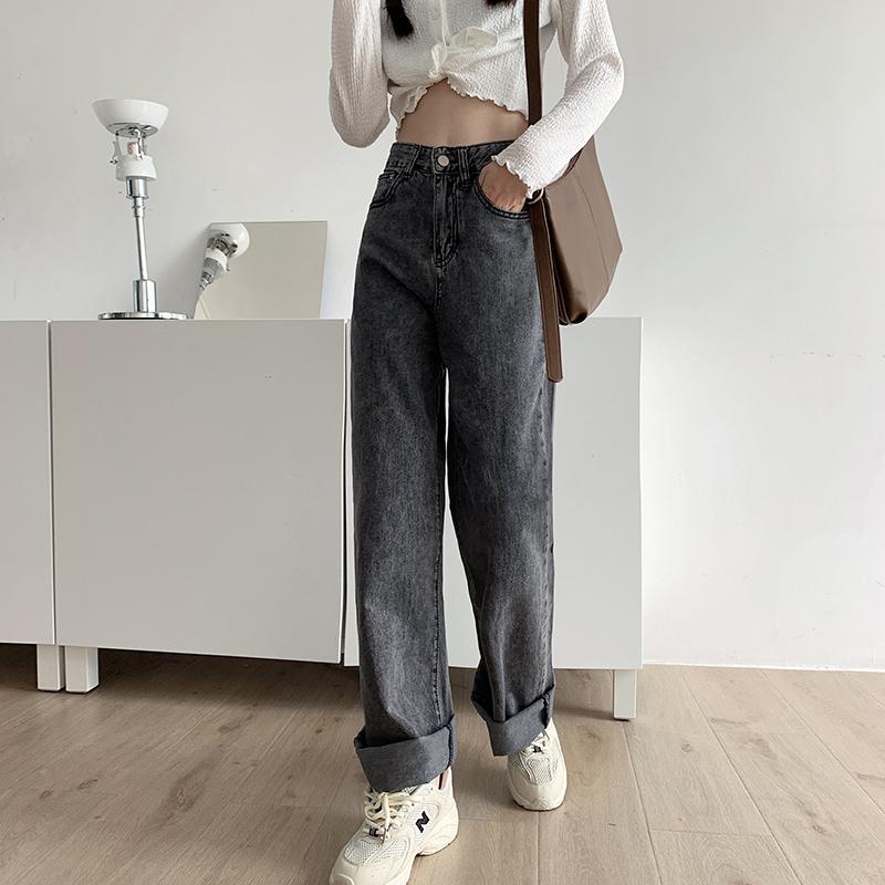 烟灰色高腰垂感宽松直筒牛仔裤女2020年秋季新款泫雅拖地裤子 -