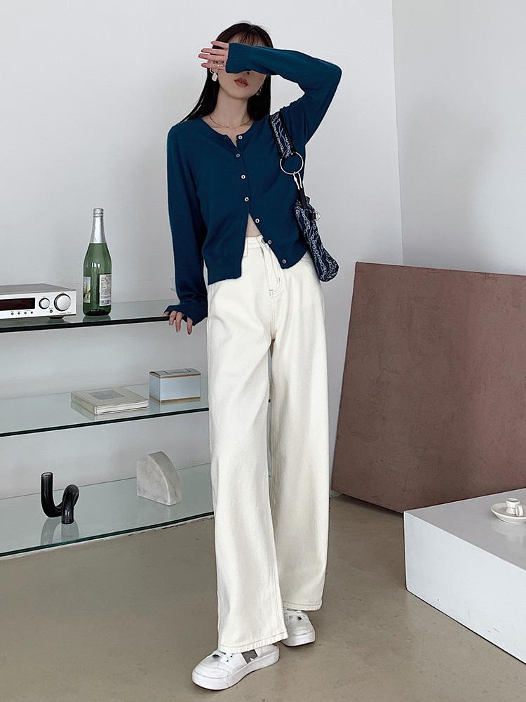米白色牛仔裤女2020新款秋季高腰显瘦直筒宽松原色拖地阔腿裤 -