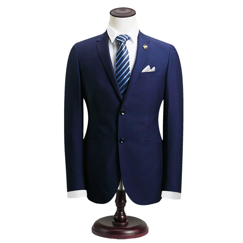 培罗蒙中年男士西装正装商务休闲职业装兰色后中开叉修身西服套装