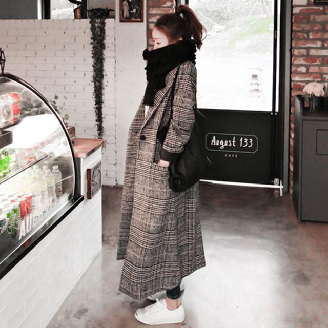 2017秋冬女士新款格子加长款外套修身显瘦千鸟格毛呢百搭外套女潮