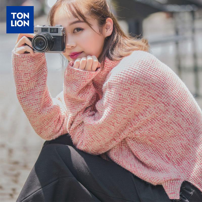 唐狮女装秋冬韩版毛衣女套头半高领宽松针织衫长袖上衣毛衫外穿潮