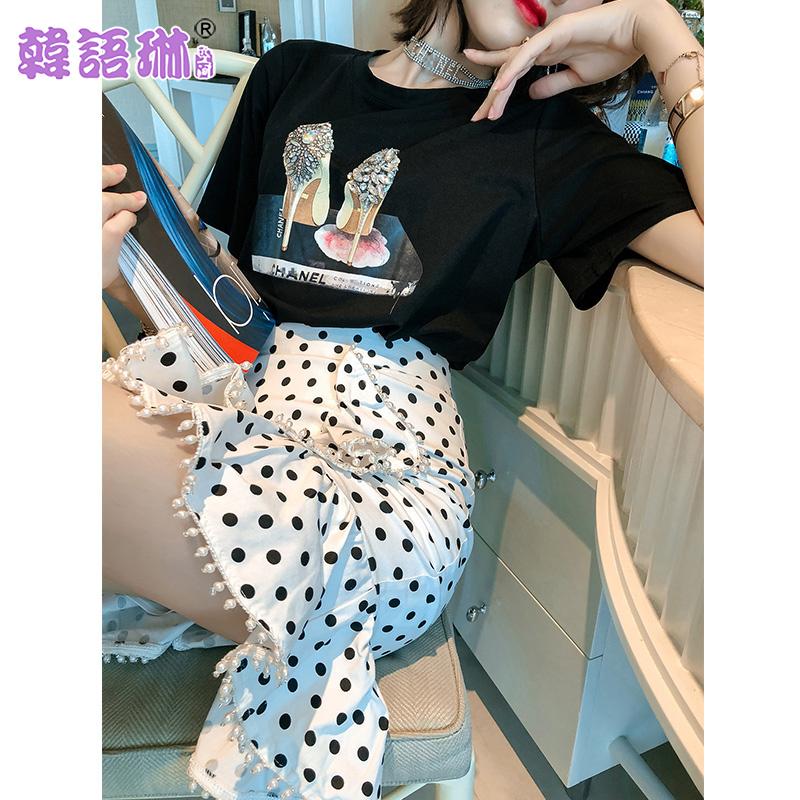 韩语琳裙子女夏季2019新款高腰短裙不规则荷叶边包臀裙波点半身裙