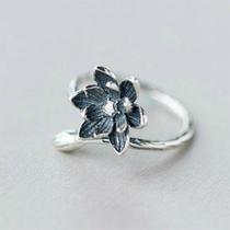 百搭气质原创设计S925纯银指环时尚个性莲花戒指简约甜美开口戒女