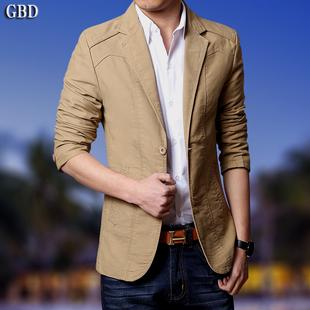 休闲西服秋季男装薄款商务新款青年棉外套修身韩版单西男士小西装图片