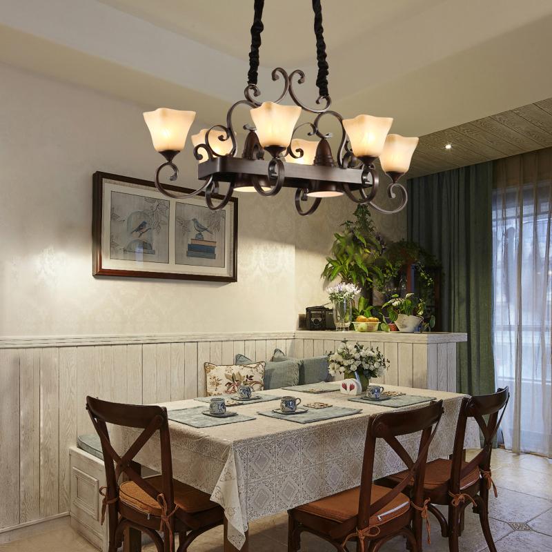 美式吊灯餐厅灯复古乡村田园客厅灯大气铁艺餐厅长方形吊灯套餐-古镇北极光灯饰