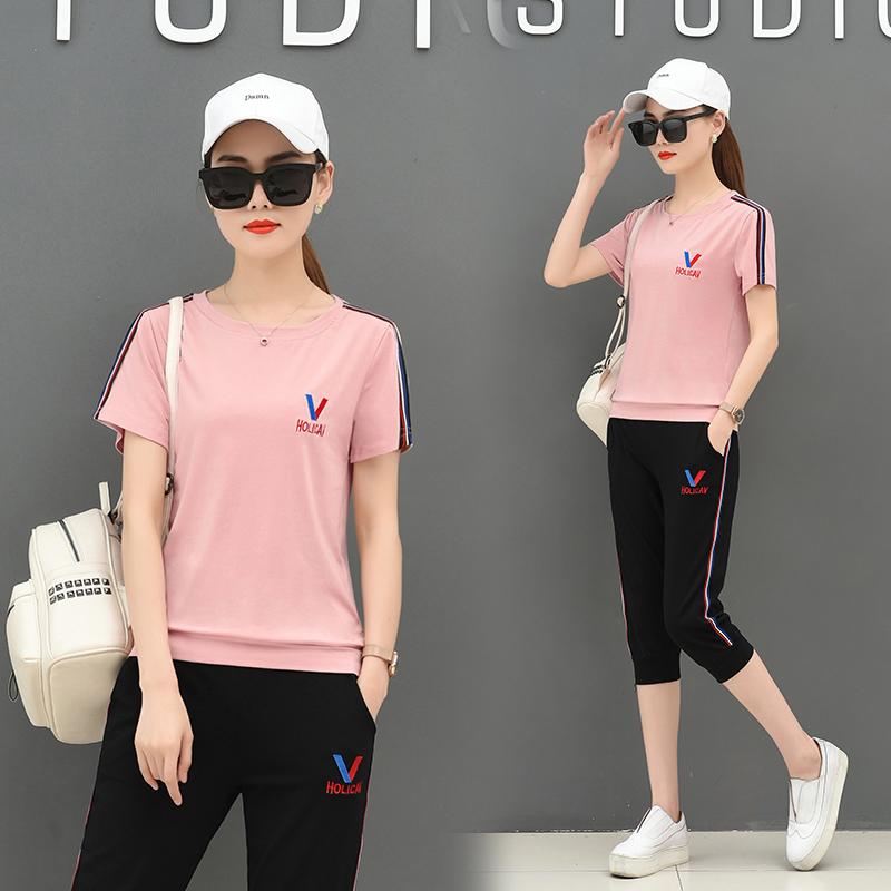 【实拍】夏天短袖套装女潮新款学生休闲春夏季运动衣服时尚两件套 -