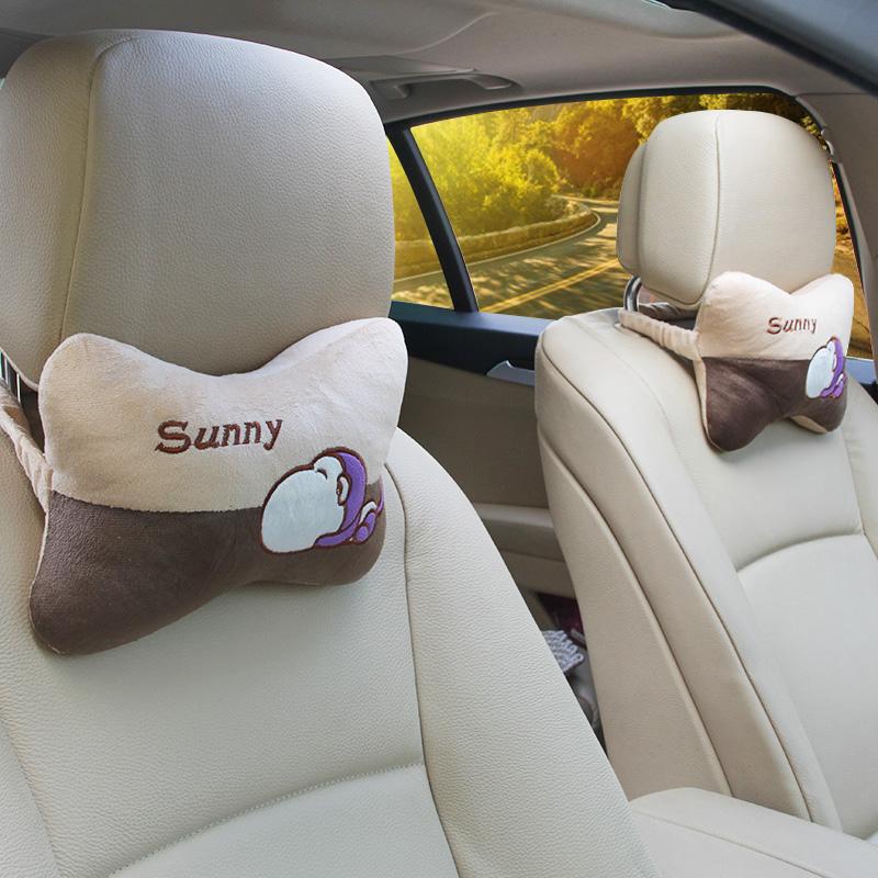 汽车头枕靠枕护颈枕车用卡通颈枕车载内饰枕头座椅腰靠垫套装