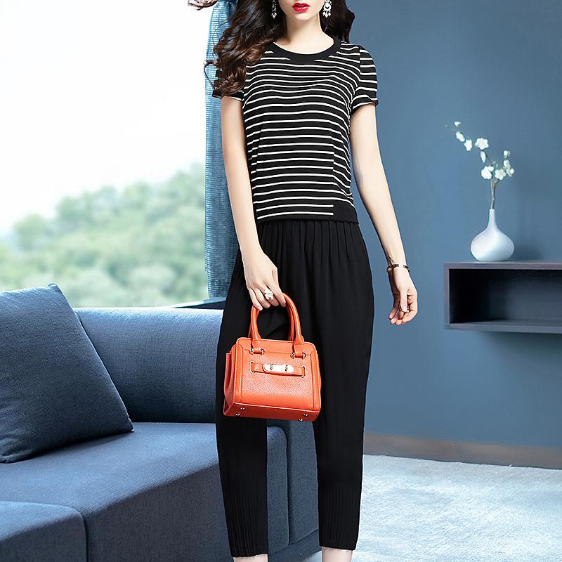 圣哥弟娅2019夏秋季新款女时尚套装条纹T恤上衣休闲两件套哈伦裤