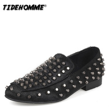 New European Chaozhou Brand Low Band Slacker Leisure Personality CL Rivet Lefu Shoes and Horse Hair-styled Teacher Chaozhou Shoes