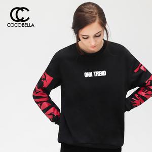[尖叫价]COCOBELLA卫衣女套头chic宽松撞色字母印花上衣TE645