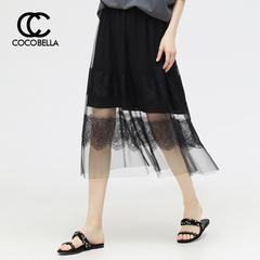 [2件8折]COCOBELLA网纱拼接蕾丝半身裙女镂空黑色长裙DS705