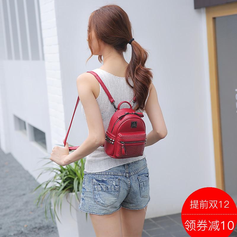 韩版迷你双肩包女2017新款潮百搭包包双肩背包女包小包铆钉小背包