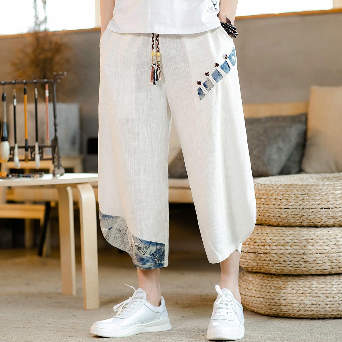 夏季中国风唐装亚麻休闲裤套装男士复古透气哈伦裤薄男短裤七分裤