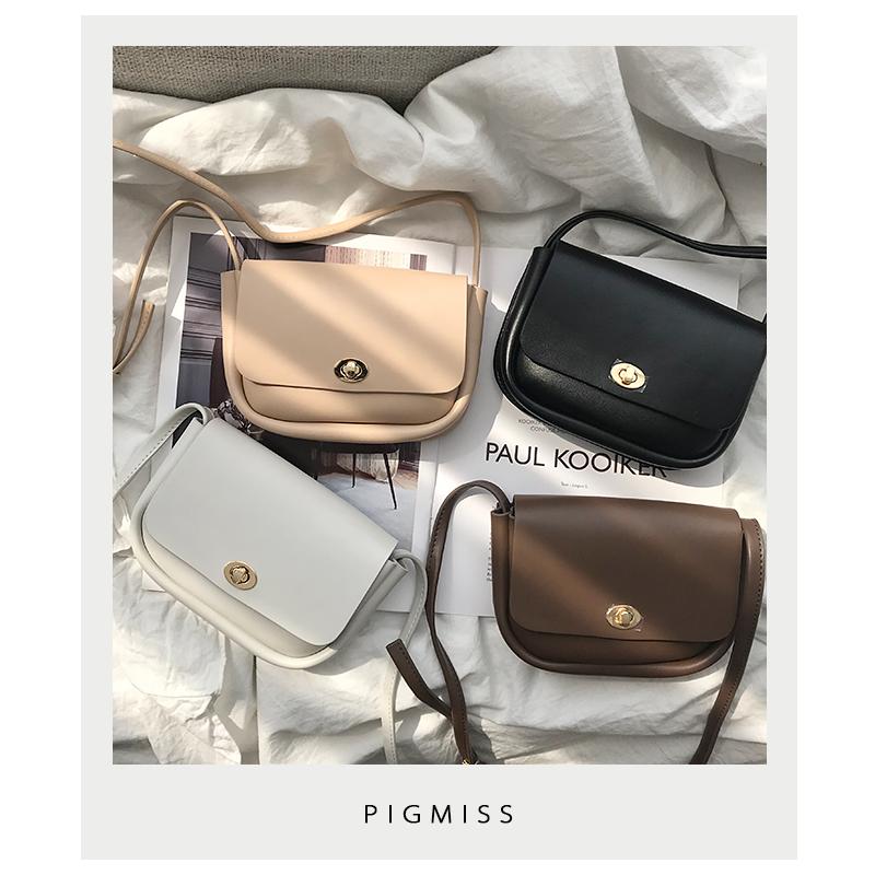 PIGMISS 2019韩版新款牛皮马鞍包高级感小包包单肩斜挎复古女包潮