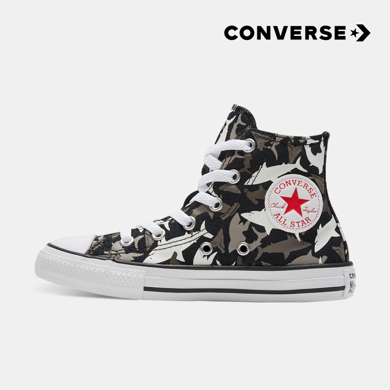 Converse匡威童鞋2020春季新款小童男童童趣鲨鱼儿童高帮帆布鞋