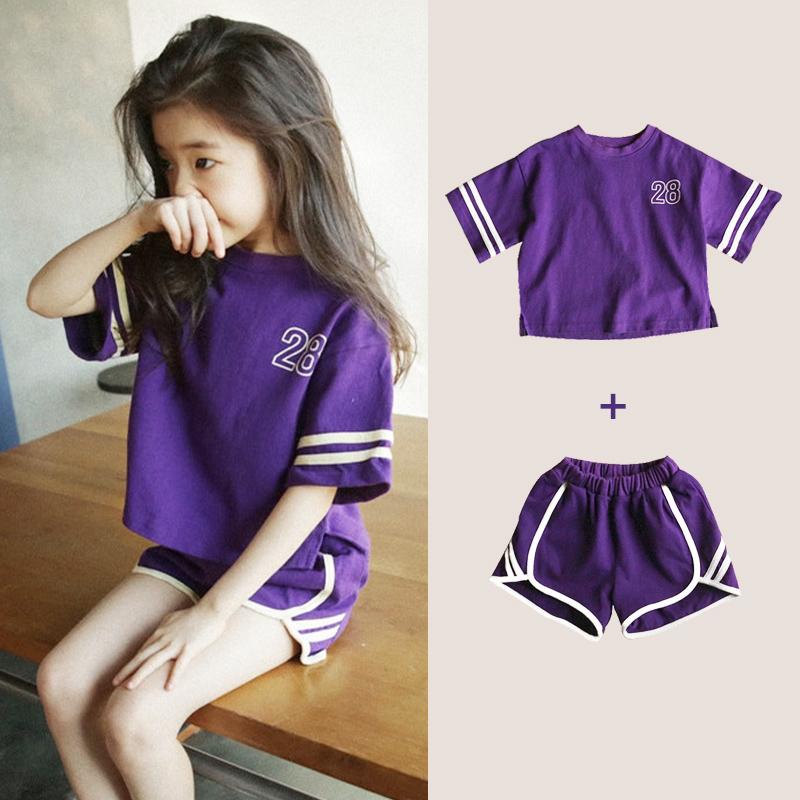 韩版2019新款夏季童装中大女童运动套装纯棉宽松短裤短袖时髦洋气