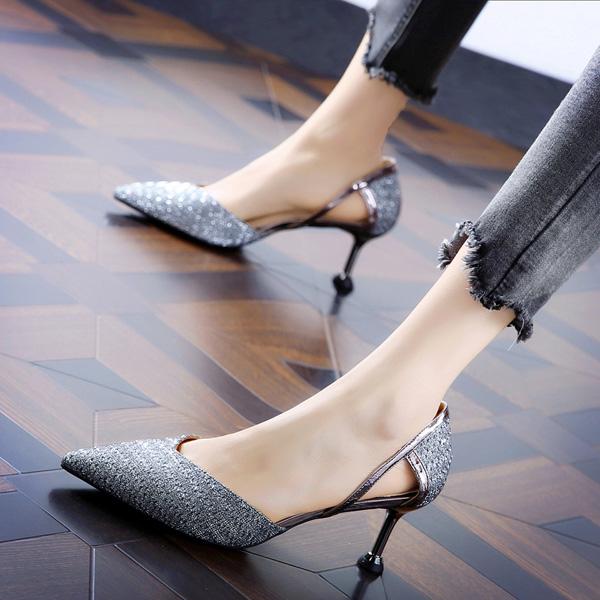 2019春季韩版性感镂空亮片礼服鞋尖头细跟名媛中跟高跟鞋女单鞋潮