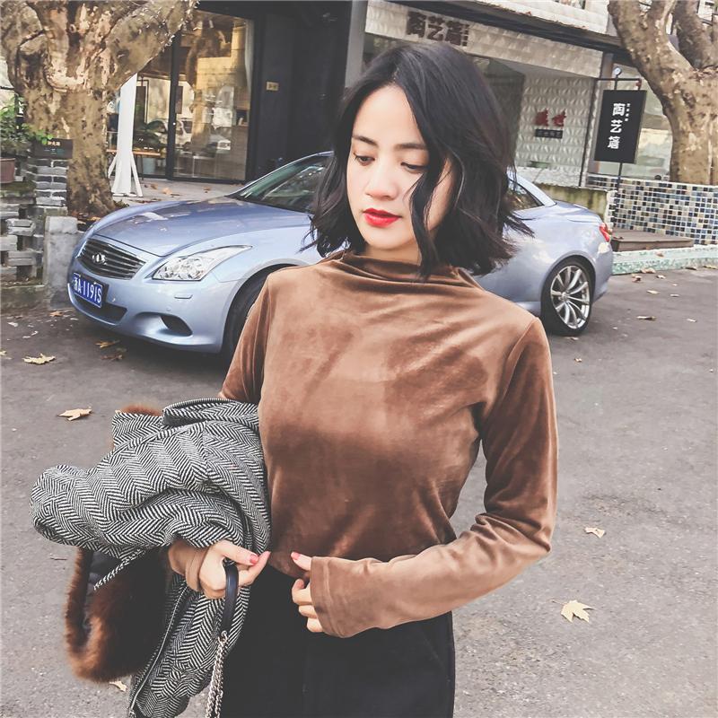 2017冬装堆堆领纯色保暖打底小衫女长袖内搭修身休闲T恤chic上衣