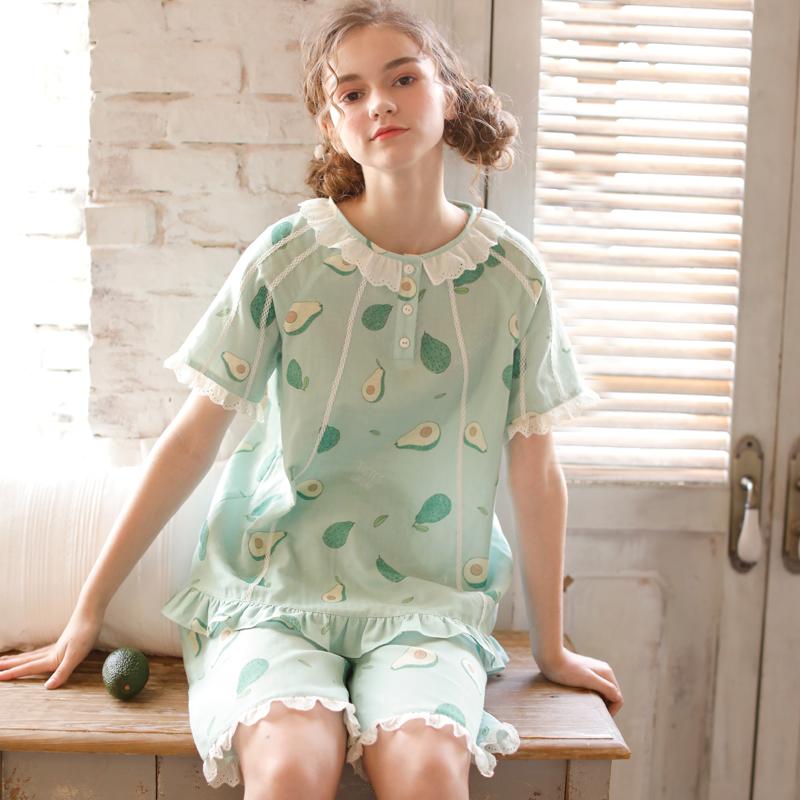 日系清新绿色牛油果夏天睡衣女纯棉薄款短袖短裤全棉纱家居服套装