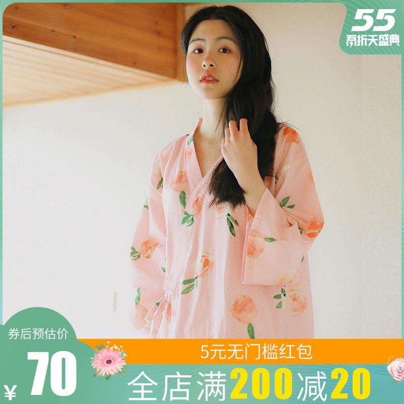 日系睡裙女夏纯棉纱布长袖宽松睡袍日式和风春秋大码浴袍和服睡衣