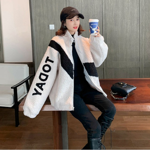 Fashion temperament large size loose net red fitted autumn and winter plus velvet sweater leisure college style was thin women's jacket coat