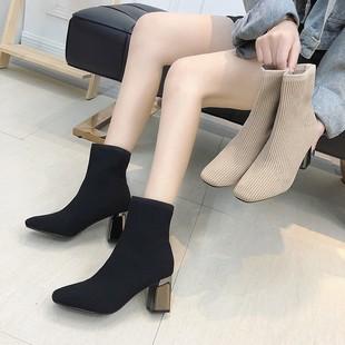 鞋子女2019潮鞋新款女鞋马丁靴方头瘦瘦靴针织弹力袜子靴高跟短靴