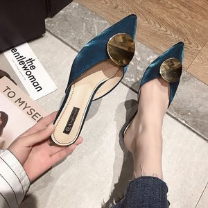 Fine-heeled high-heeled Baotou half-slip sandals and slippers women's fashion wear 2020 new gentle shoes fairy wild women's shoes