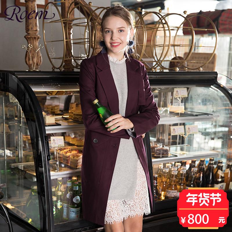 Roem洛妍女装翻领纯色一粒扣系带中长款淑女风衣外套RCJT74903C
