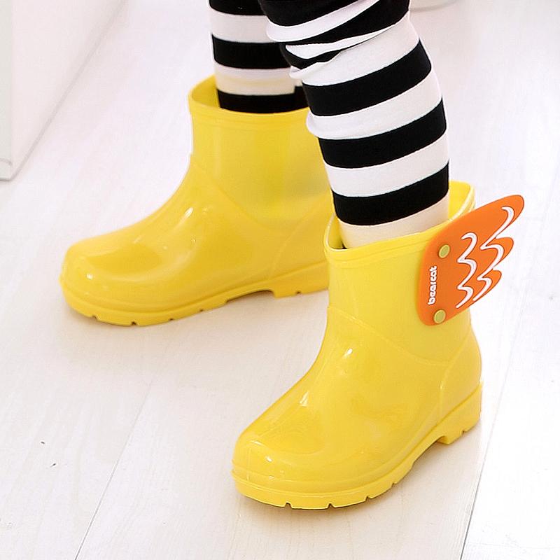 韩国儿童雨鞋防滑宝宝水鞋天使翅膀雨鞋女童男童加绒内胆公主雨靴
