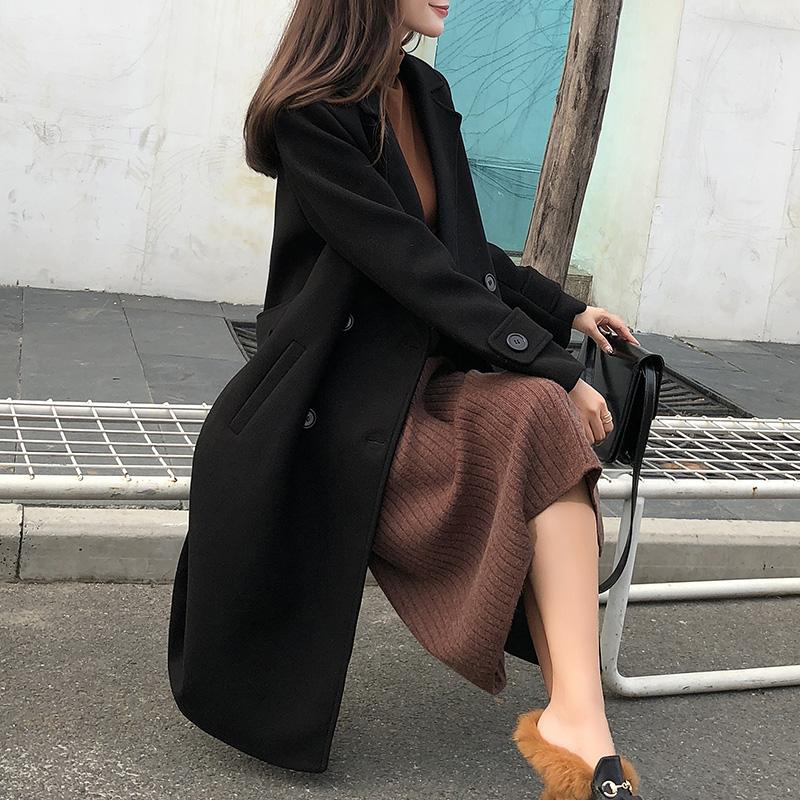黑色毛呢外套女中长款韩版秋冬2018新款流行过膝加厚呢子大衣学生