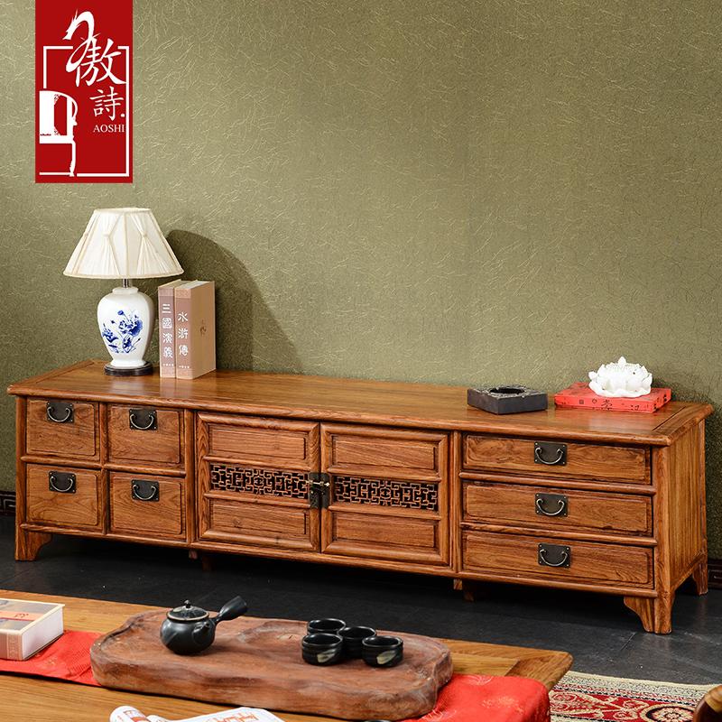 傲诗 红木家具 刺猬紫檀木佛冠电视柜/地柜 仿京瓷新中式家具x76
