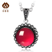 Thai Red corundum pendant in 925 Silver Thailand ladies jewelry round necklace sent girls