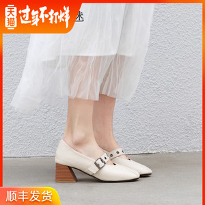 Thick heel shoes women's shoes with a word buckle in the 2019 autumn models small size high heels retro granny shoes Mary Jane shoes