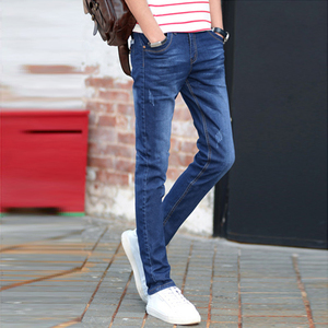 Autumn and winter jeans men's slim feet pants youth stretch Korean tide black casual long pants men's clothing