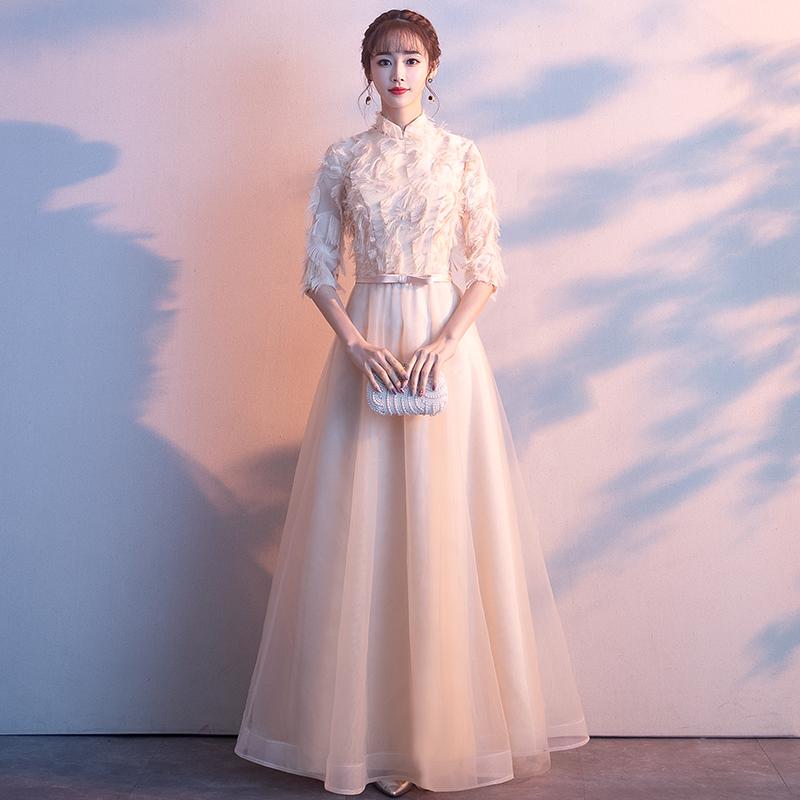 年会晚礼服女2018新款宴会主持人长款聚会连衣裙显瘦高贵伴娘服冬