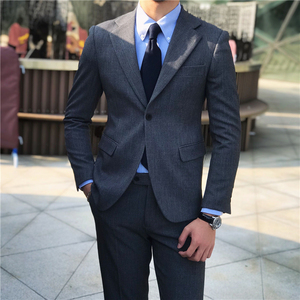 Mr. Lusan Korea Dongdaemun Men's Wear Business Slim Gray Suit Set Korean Casual Suit Men