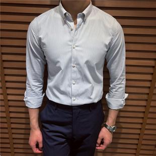鹿三先生男装商务修身条纹长袖衬衫英伦休闲复古衬衣韩版日系潮男图片