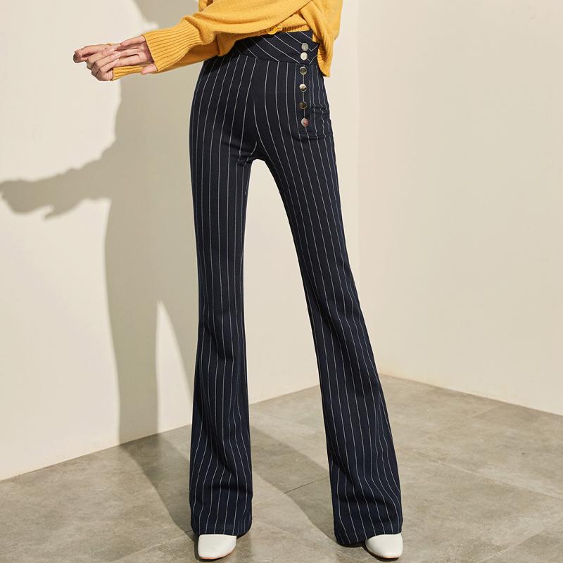 夏莫卡2017时尚新款高腰喇叭裤显高显瘦大脚裤弹力复古条纹裤K57
