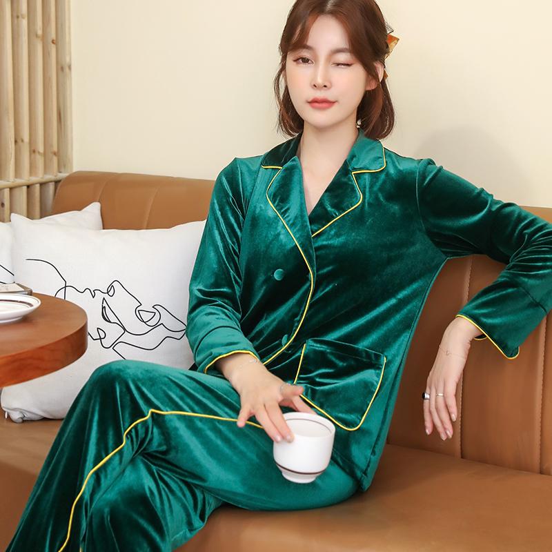 芬达金丝绒睡衣两件套装开衫长袖长裤女装家居服106# -