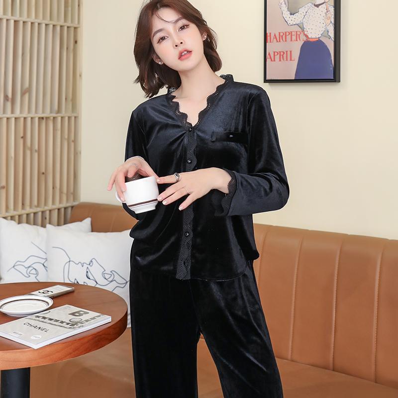 芬达金丝绒睡衣女装长袖长裤两件套装薄款花边蕾丝家居服105# -