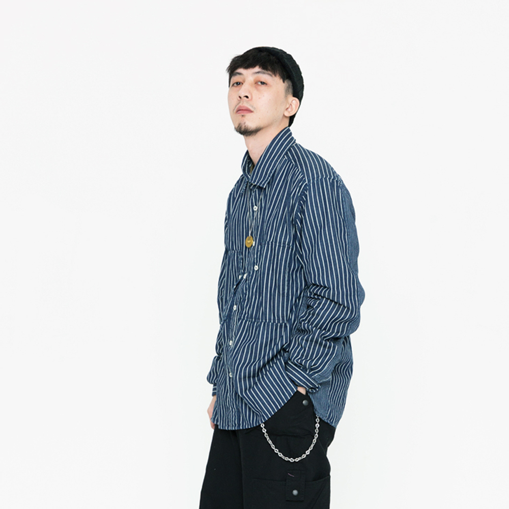 DAKYAM 2018AW Street Traitor Shirt宽松条纹拼接舒适长袖男衬衫