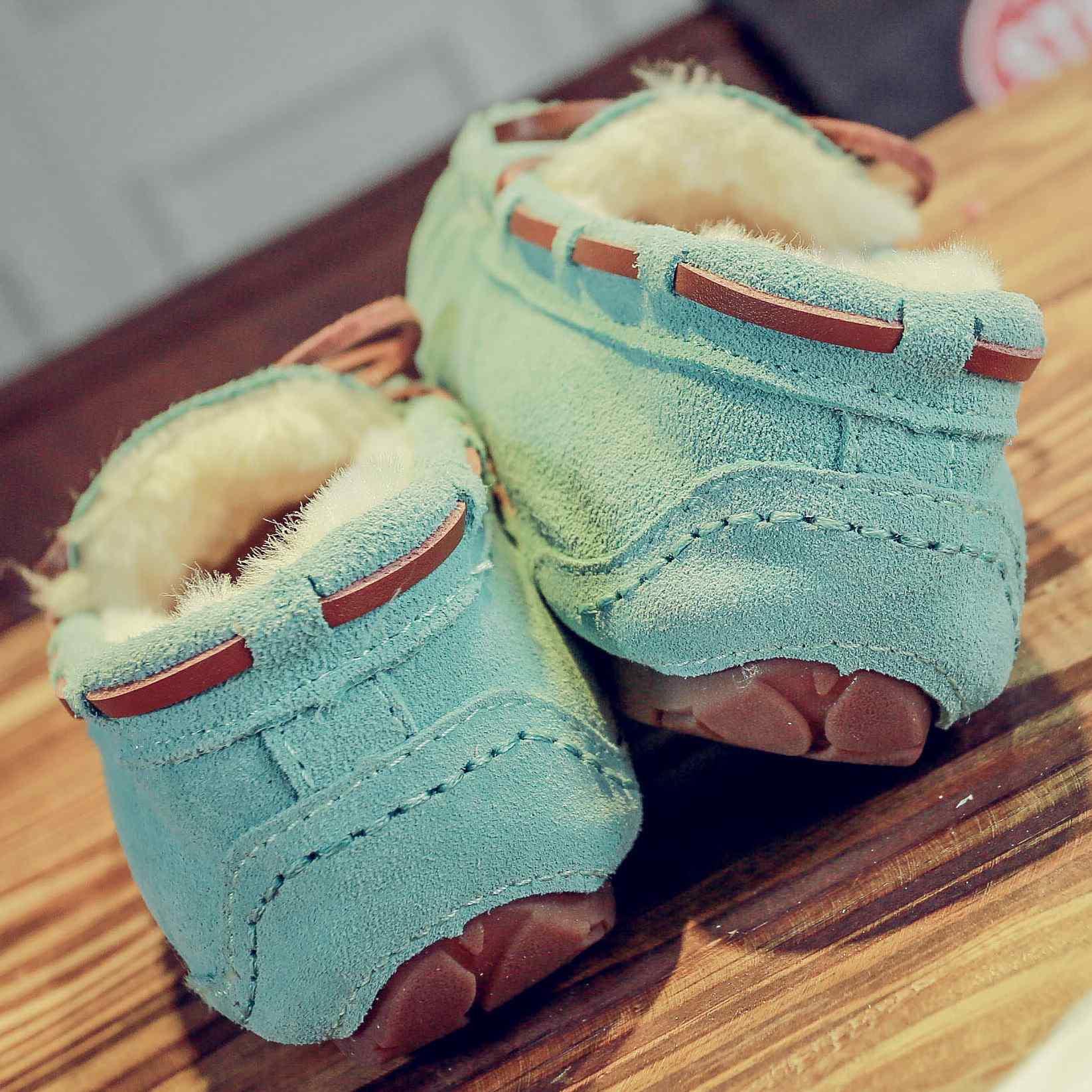 瞌睡豆社会豆豆鞋女真皮原宿保暖毛毛棉鞋加绒冬季雪地靴一脚蹬