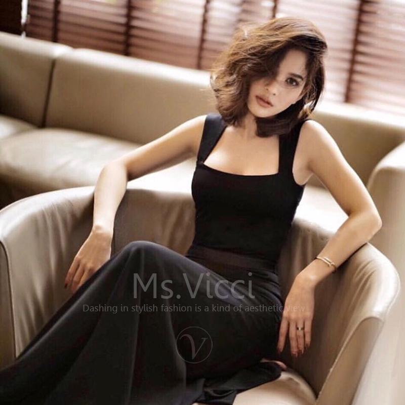 2019夏季新款女泰国潮牌针织方领背心宽肩带打底修身显瘦连体上衣