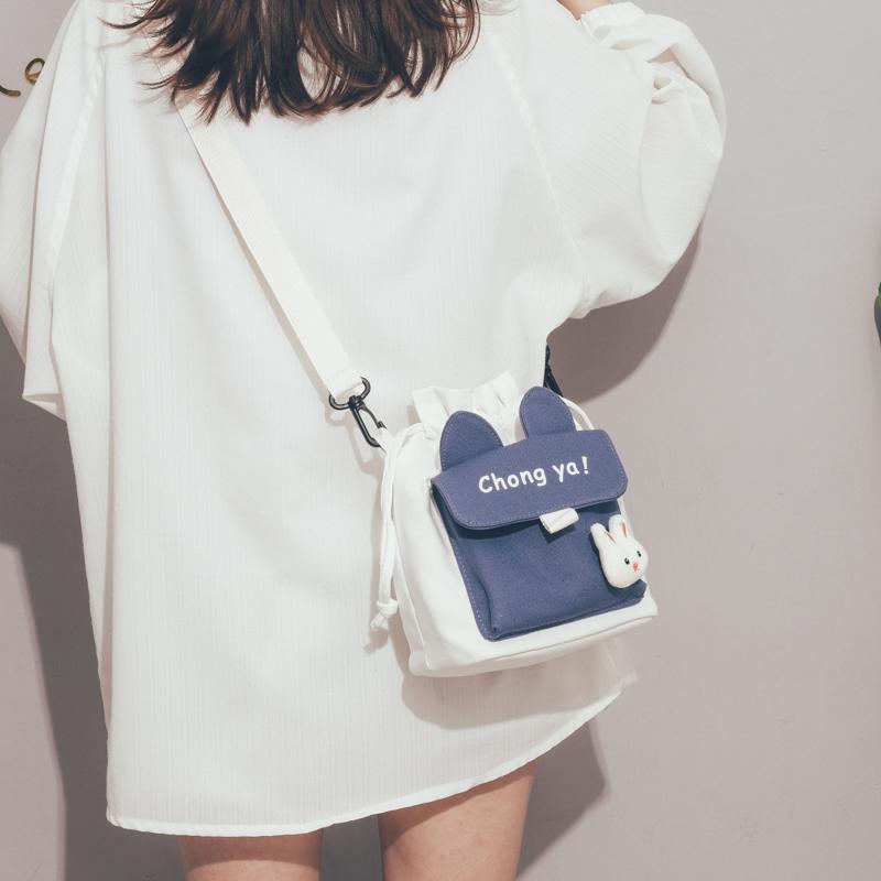 可爱小包包2020新款韩国ins日系原宿帆布斜挎包女学生单肩水桶包