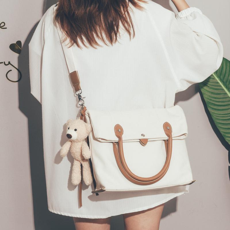 简约风休闲帆布包包女2020新款潮大容量单肩斜挎包纯色女士托特包